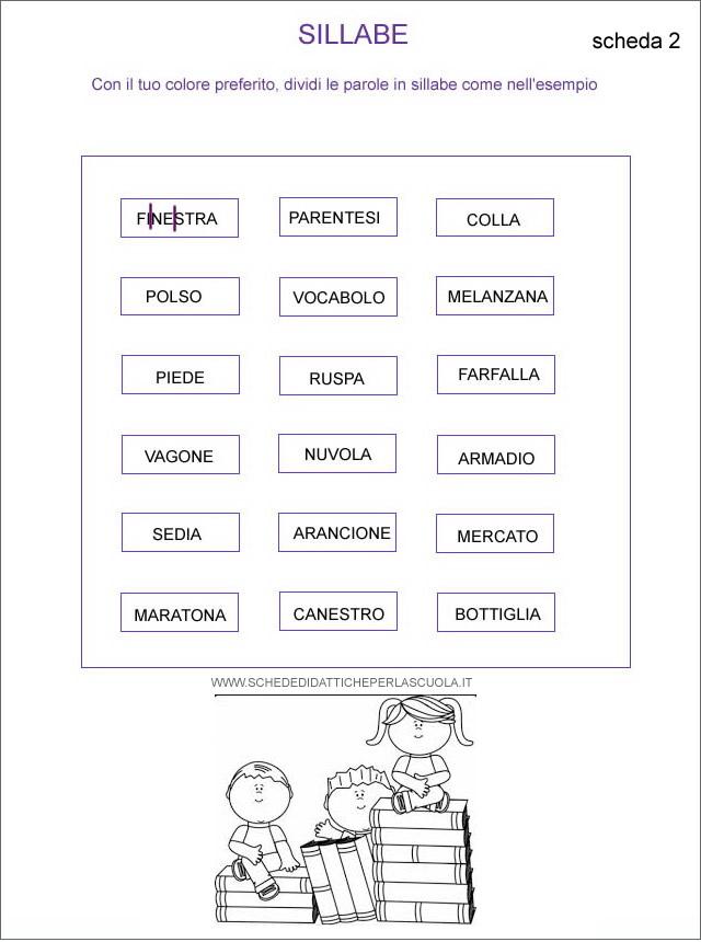 Dividi in sillabe schede didattiche per la scuola for Parole capricciose esercizi